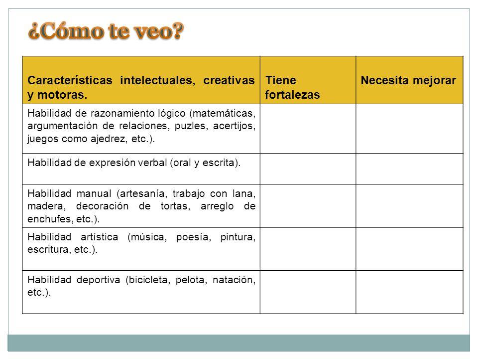 Características intelectuales, creativas y motoras.
