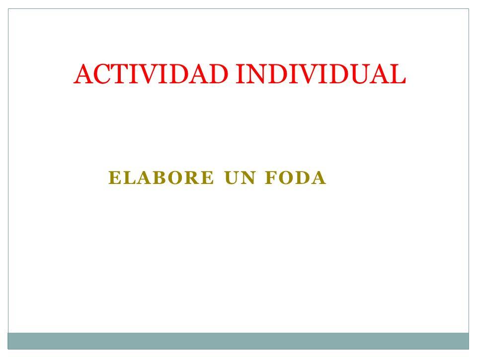 ELABORE UN FODA ACTIVIDAD INDIVIDUAL