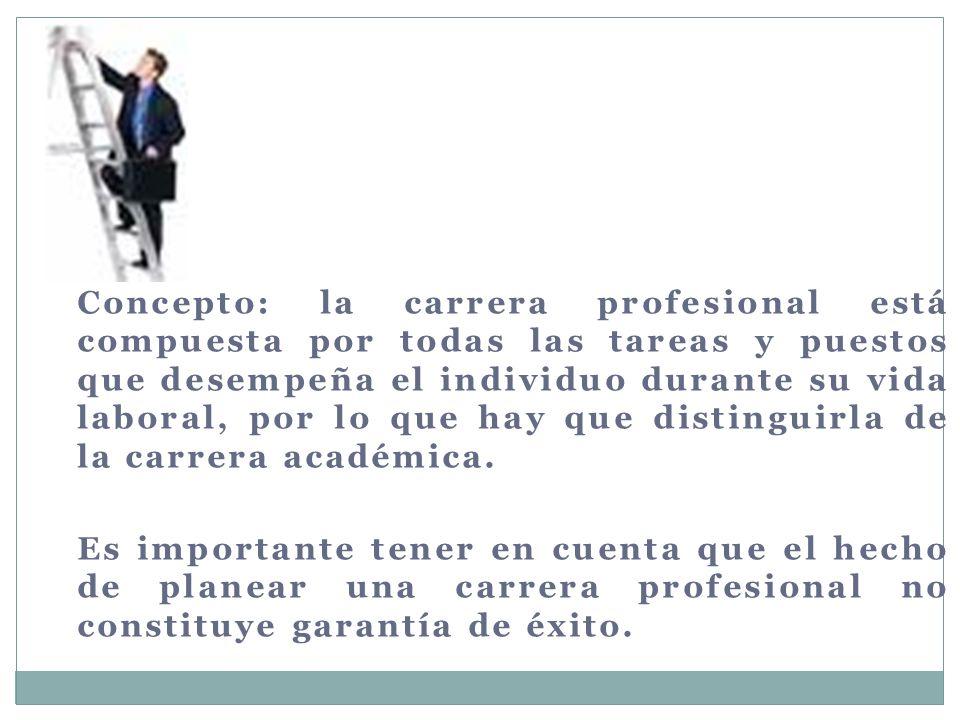 Concepto: la carrera profesional está compuesta por todas las tareas y puestos que desempeña el individuo durante su vida laboral, por lo que hay que distinguirla de la carrera académica.