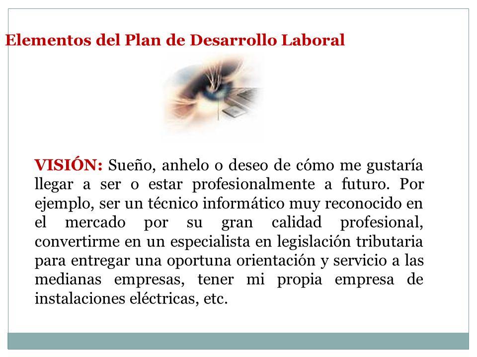 Elementos del Plan de Desarrollo Laboral VISIÓN: Sueño, anhelo o deseo de cómo me gustaría llegar a ser o estar profesionalmente a futuro. Por ejemplo