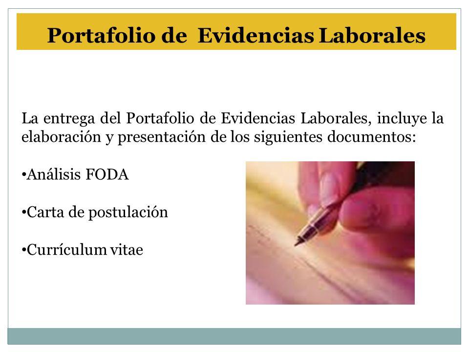 La entrega del Portafolio de Evidencias Laborales, incluye la elaboración y presentación de los siguientes documentos: Análisis FODA Carta de postulación Currículum vitae Portafolio de Evidencias Laborales
