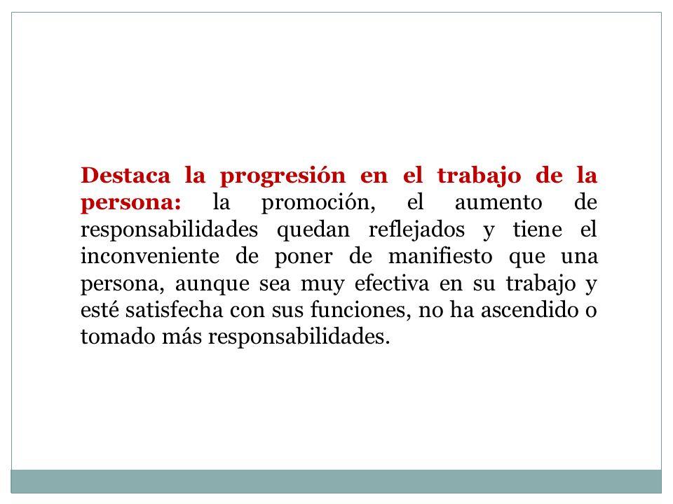 Destaca la progresión en el trabajo de la persona: la promoción, el aumento de responsabilidades quedan reflejados y tiene el inconveniente de poner d