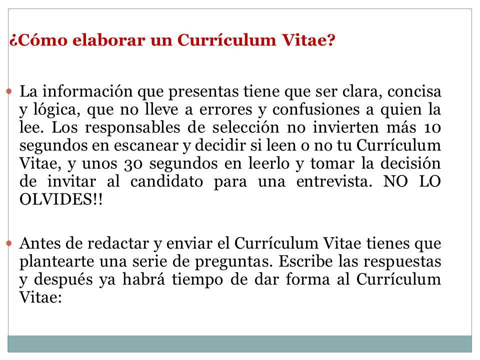 ¿Cómo elaborar un Currículum Vitae? La información que presentas tiene que ser clara, concisa y lógica, que no lleve a errores y confusiones a quien l