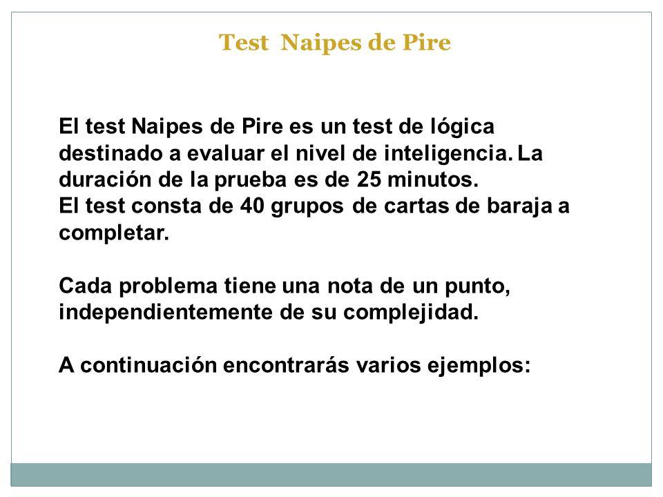 El test Naipes de Pire es un test de lógica destinado a evaluar el nivel de inteligencia. La duración de la prueba es de 25 minutos. El test consta de