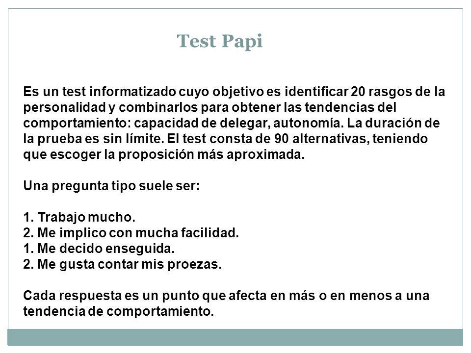 Test Papi Es un test informatizado cuyo objetivo es identificar 20 rasgos de la personalidad y combinarlos para obtener las tendencias del comportamiento: capacidad de delegar, autonomía.