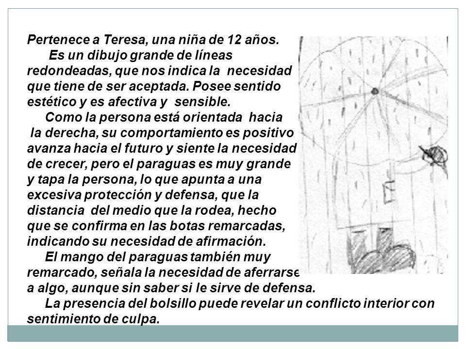 Pertenece a Teresa, una niña de 12 años. Es un dibujo grande de líneas redondeadas, que nos indica la necesidad que tiene de ser aceptada. Posee senti