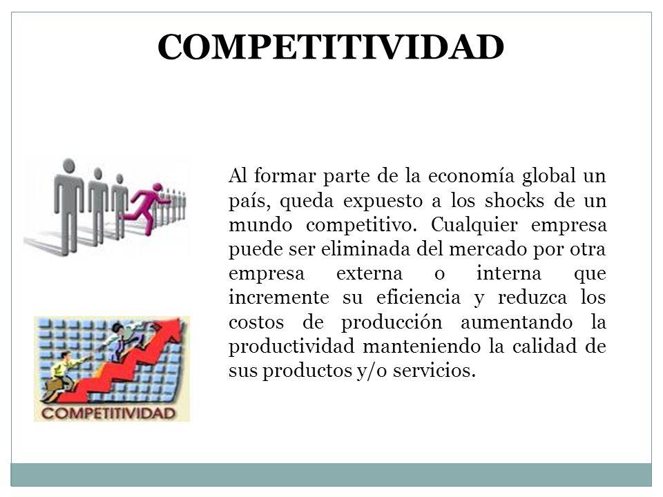 Al formar parte de la economía global un país, queda expuesto a los shocks de un mundo competitivo. Cualquier empresa puede ser eliminada del mercado