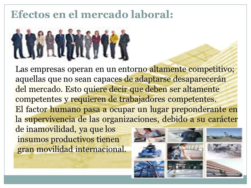 Efectos en el mercado laboral: Las empresas operan en un entorno altamente competitivo; aquellas que no sean capaces de adaptarse desaparecerán del me