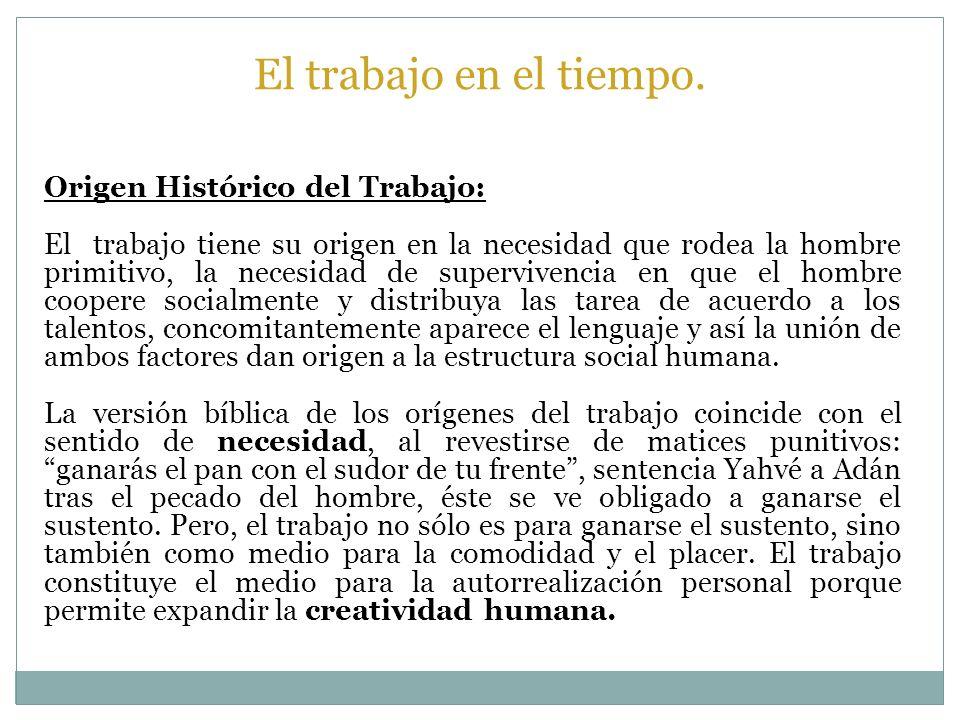 Origen Histórico del Trabajo: El trabajo tiene su origen en la necesidad que rodea la hombre primitivo, la necesidad de supervivencia en que el hombre