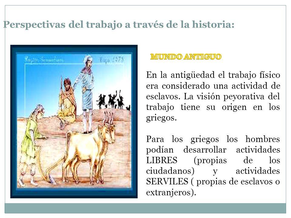 Perspectivas del trabajo a través de la historia: En la antigüedad el trabajo físico era considerado una actividad de esclavos. La visión peyorativa d