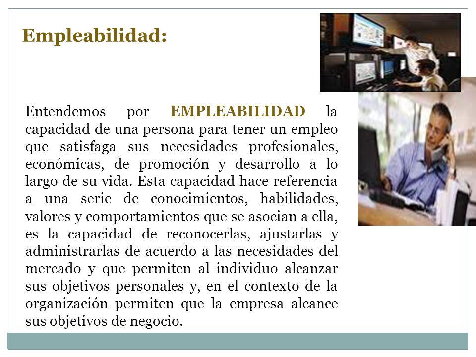 Entendemos por EMPLEABILIDAD la capacidad de una persona para tener un empleo que satisfaga sus necesidades profesionales, económicas, de promoción y desarrollo a lo largo de su vida.