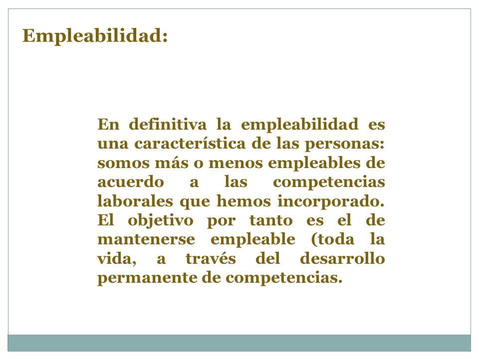 En definitiva la empleabilidad es una característica de las personas: somos más o menos empleables de acuerdo a las competencias laborales que hemos incorporado.