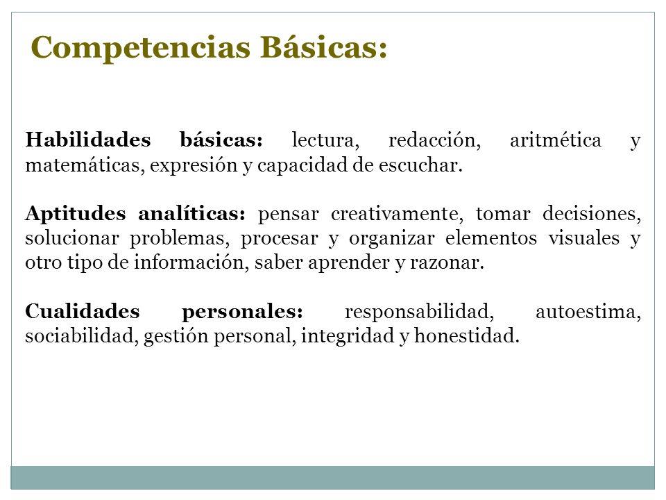 Habilidades básicas: lectura, redacción, aritmética y matemáticas, expresión y capacidad de escuchar. Aptitudes analíticas: pensar creativamente, toma
