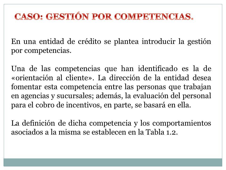 En una entidad de crédito se plantea introducir la gestión por competencias. Una de las competencias que han identificado es la de «orientación al cli