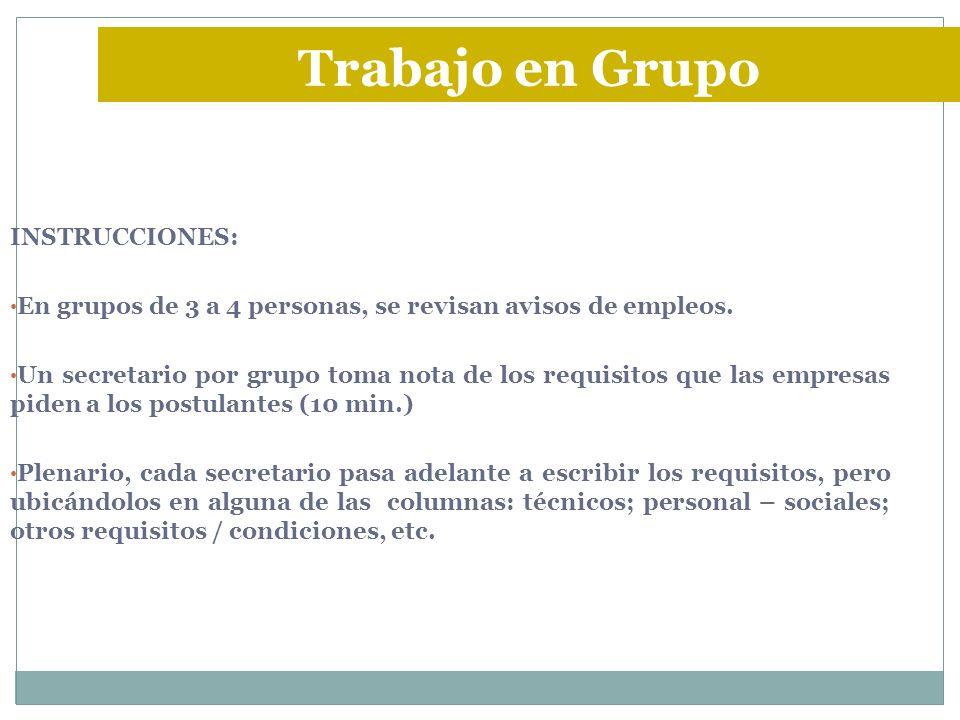 INSTRUCCIONES: En grupos de 3 a 4 personas, se revisan avisos de empleos. Un secretario por grupo toma nota de los requisitos que las empresas piden a