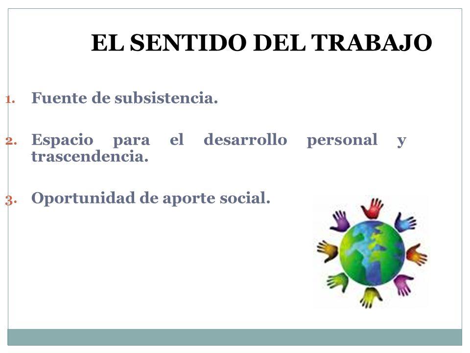 1. Fuente de subsistencia. 2. Espacio para el desarrollo personal y trascendencia. 3. Oportunidad de aporte social. EL SENTIDO DEL TRABAJO