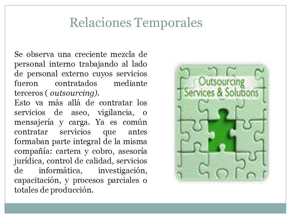 Relaciones Temporales Se observa una creciente mezcla de personal interno trabajando al lado de personal externo cuyos servicios fueron contratados mediante terceros ( outsourcing).