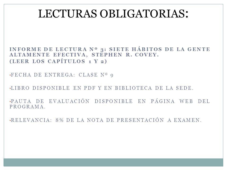 INFORME DE LECTURA Nº 3: SIETE HÁBITOS DE LA GENTE ALTAMENTE EFECTIVA, STEPHEN R. COVEY. (LEER LOS CAPÍTULOS 1 Y 2) FECHA DE ENTREGA: CLASE Nº 9 LIBRO