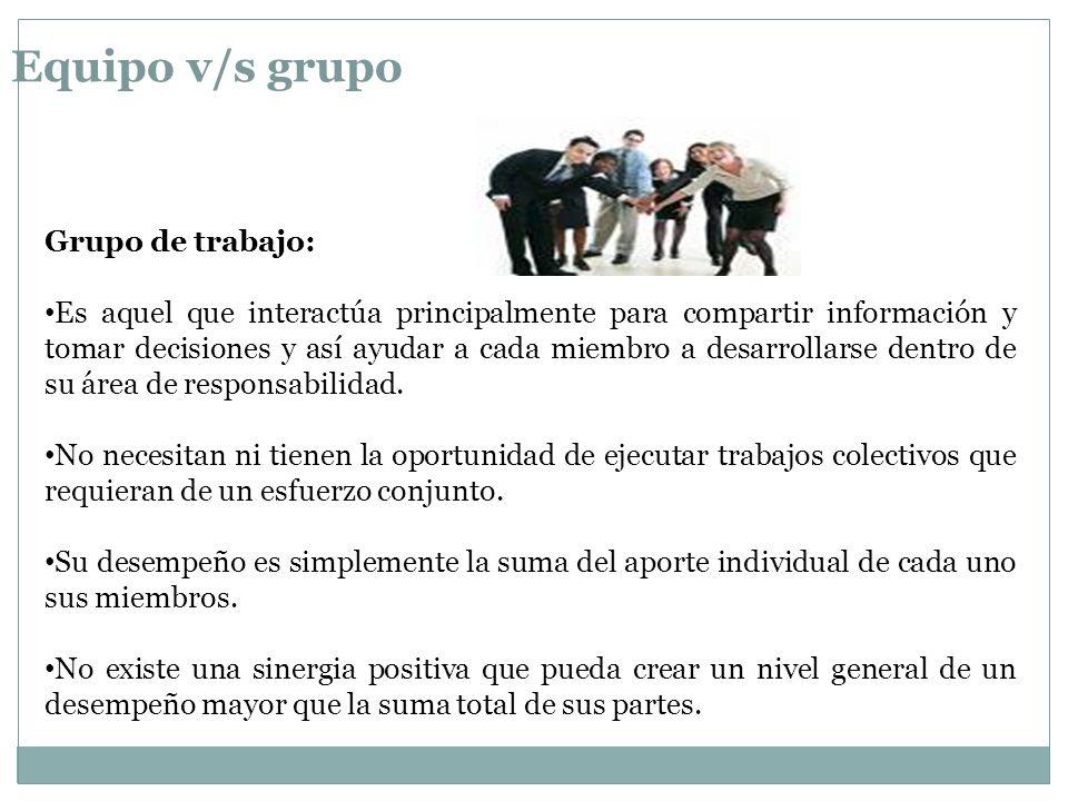 Equipo v/s grupo Grupo de trabajo: Es aquel que interactúa principalmente para compartir información y tomar decisiones y así ayudar a cada miembro a desarrollarse dentro de su área de responsabilidad.