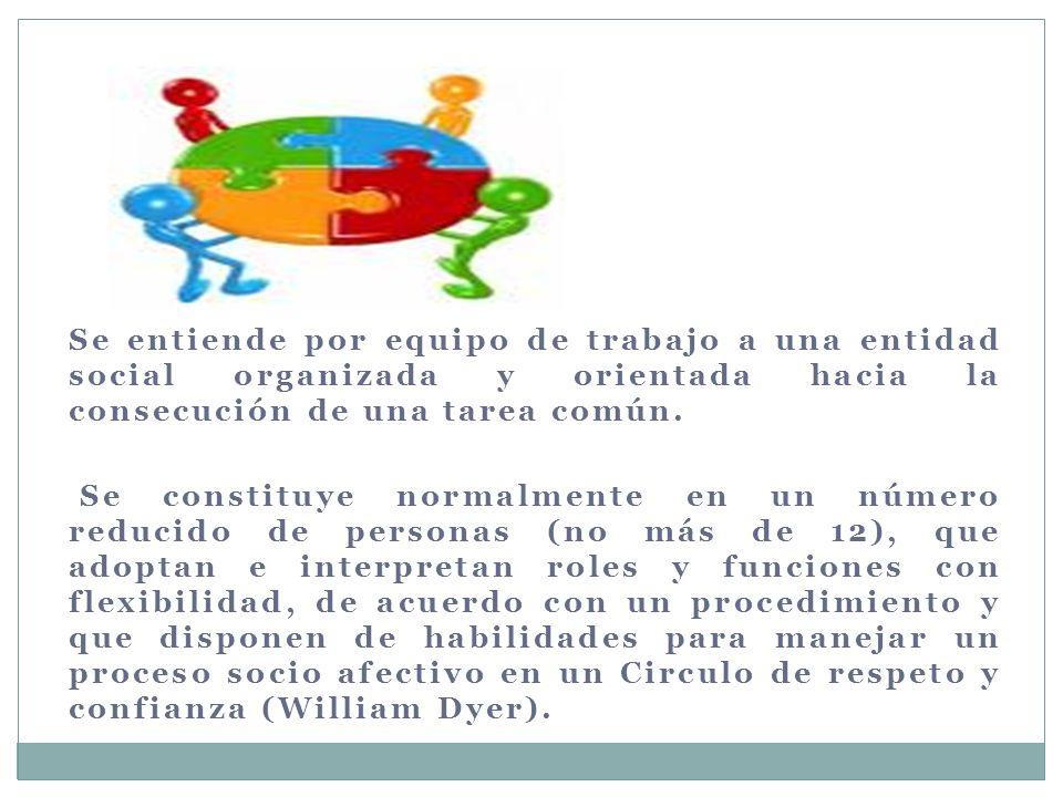 Se entiende por equipo de trabajo a una entidad social organizada y orientada hacia la consecución de una tarea común.