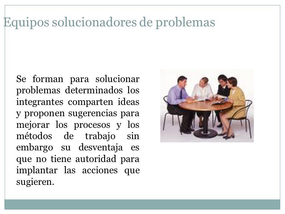 Equipos solucionadores de problemas Se forman para solucionar problemas determinados los integrantes comparten ideas y proponen sugerencias para mejor
