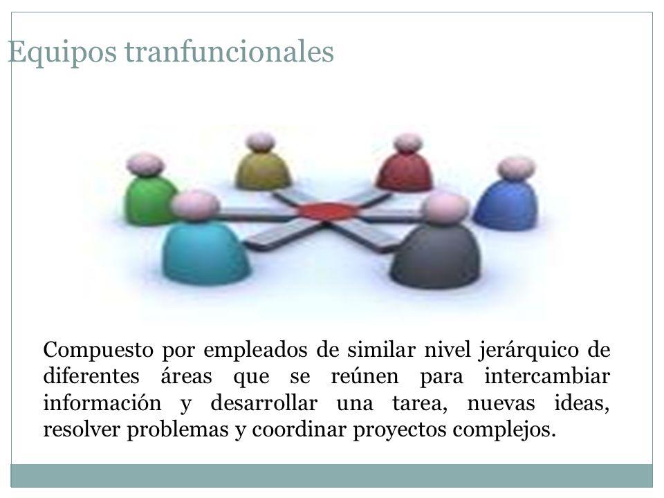 Equipos tranfuncionales Compuesto por empleados de similar nivel jerárquico de diferentes áreas que se reúnen para intercambiar información y desarrollar una tarea, nuevas ideas, resolver problemas y coordinar proyectos complejos.