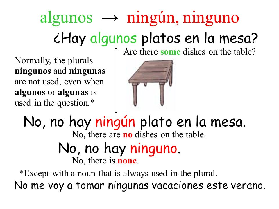 ¿Hay algunos platos en la mesa? No, no hay ningún plato en la mesa. Are there some dishes on the table? No, there are no dishes on the table. No, no h