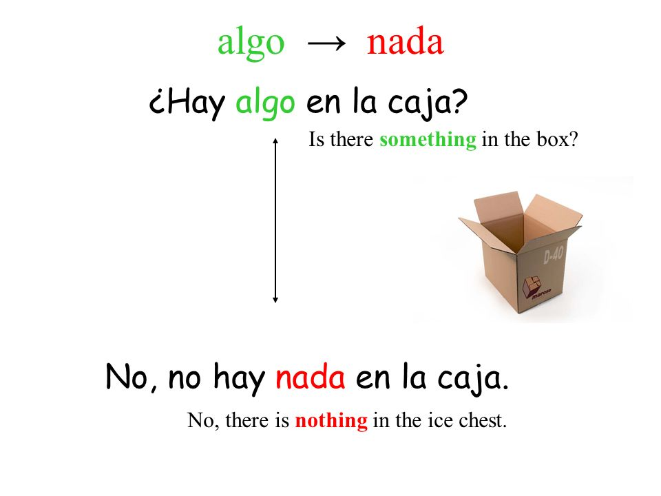 ¿Hay algo en la caja? No, no hay nada en la caja. Is there something in the box? No, there is nothing in the ice chest. algo nada
