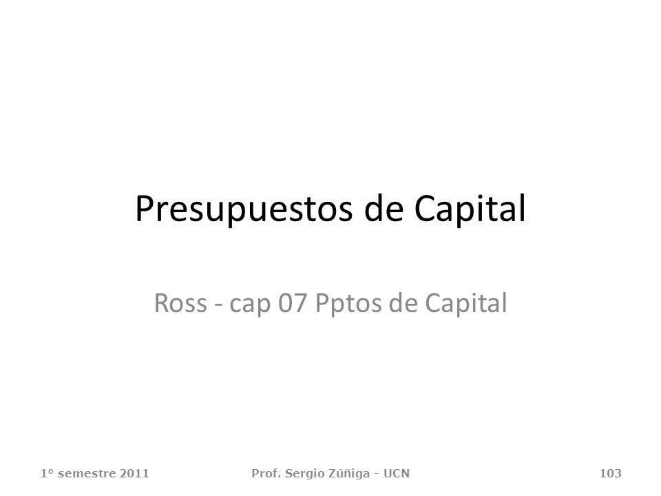1° semestre 2011Prof. Sergio Zúñiga - UCN103 Presupuestos de Capital Ross - cap 07 Pptos de Capital