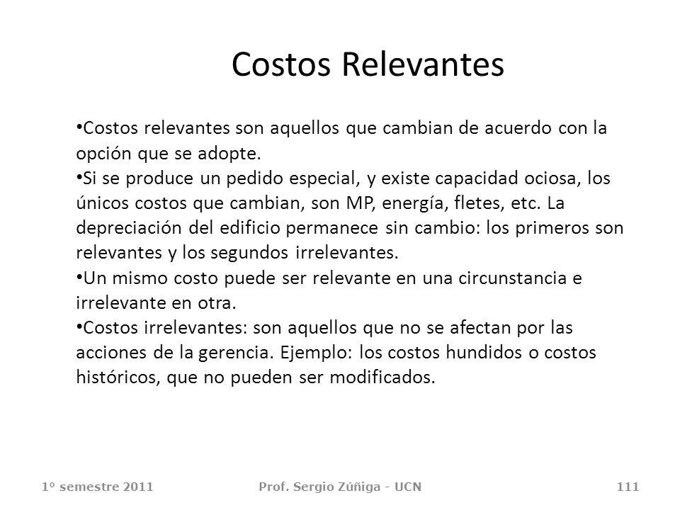 Costos Relevantes 1° semestre 2011Prof. Sergio Zúñiga - UCN111 Costos relevantes son aquellos que cambian de acuerdo con la opción que se adopte. Si s