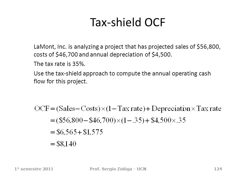 Tax-shield OCF LaMont, Inc. is analyzing a project that has projected sales of $56,800, costs of $46,700 and annual depreciation of $4,500. The tax ra