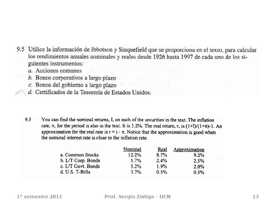 1° semestre 2011Prof. Sergio Zúñiga - UCN13