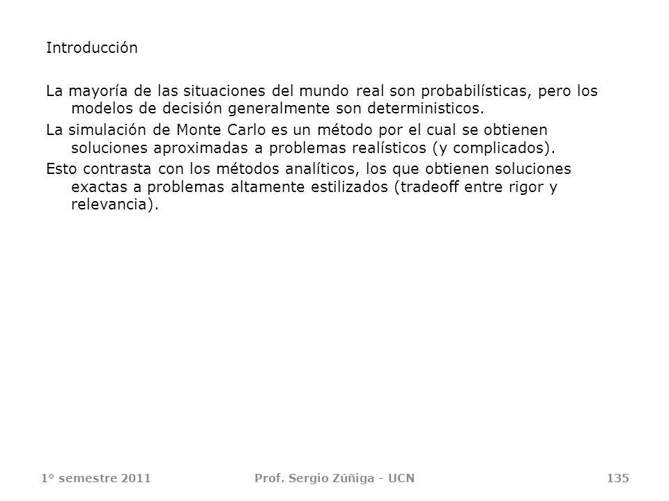 1° semestre 2011Prof. Sergio Zúñiga - UCN135 Introducción La mayoría de las situaciones del mundo real son probabilísticas, pero los modelos de decisi