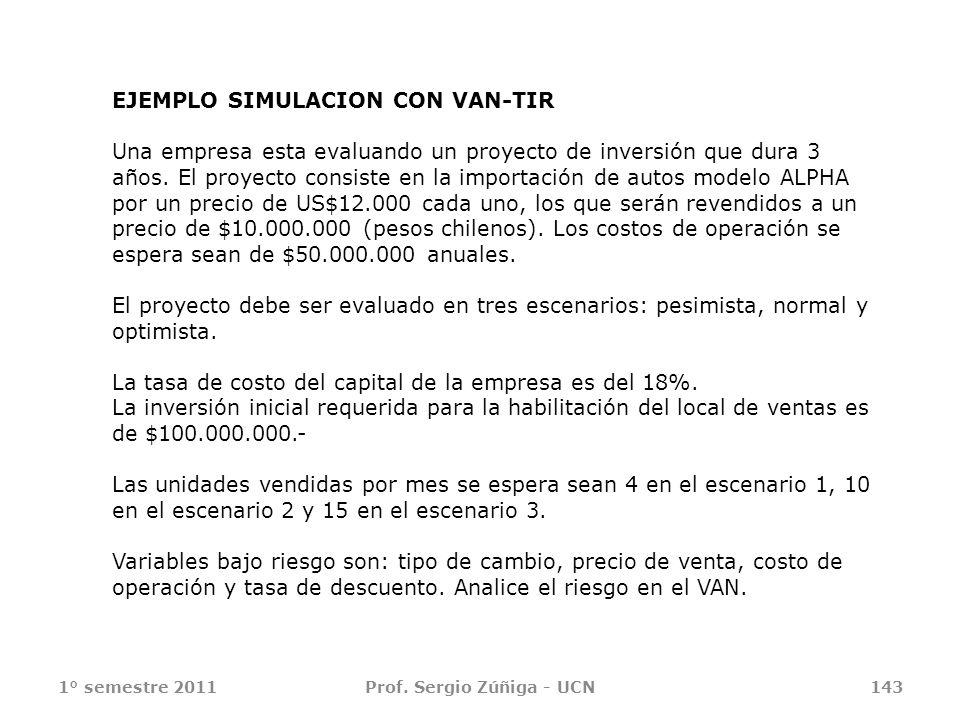 1° semestre 2011Prof. Sergio Zúñiga - UCN143 EJEMPLO SIMULACION CON VAN-TIR Una empresa esta evaluando un proyecto de inversión que dura 3 años. El pr