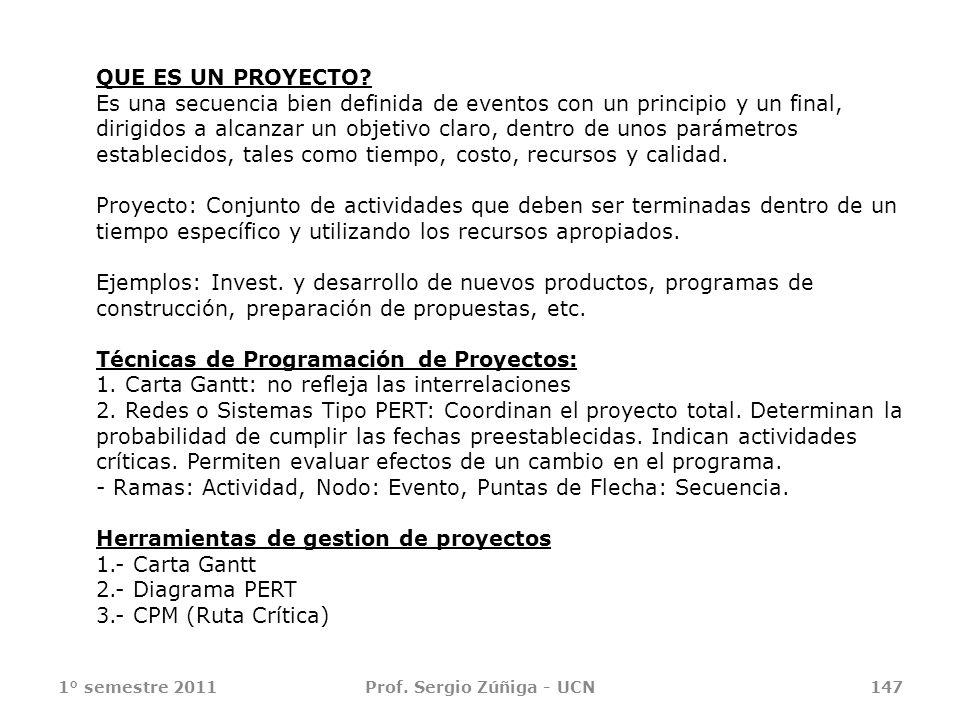 1° semestre 2011Prof. Sergio Zúñiga - UCN147 QUE ES UN PROYECTO? Es una secuencia bien definida de eventos con un principio y un final, dirigidos a al