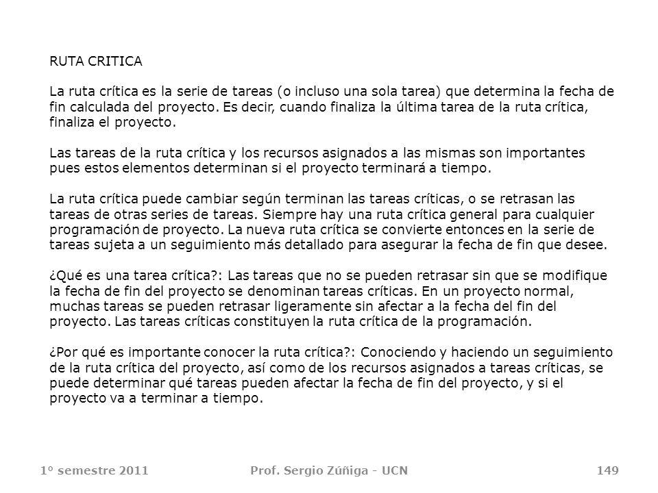 1° semestre 2011Prof. Sergio Zúñiga - UCN149 RUTA CRITICA La ruta crítica es la serie de tareas (o incluso una sola tarea) que determina la fecha de f