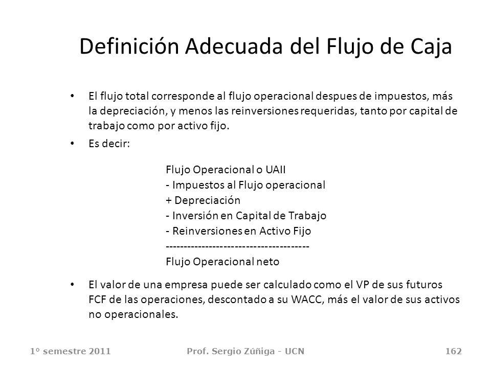 Definición Adecuada del Flujo de Caja El flujo total corresponde al flujo operacional despues de impuestos, más la depreciación, y menos las reinversi