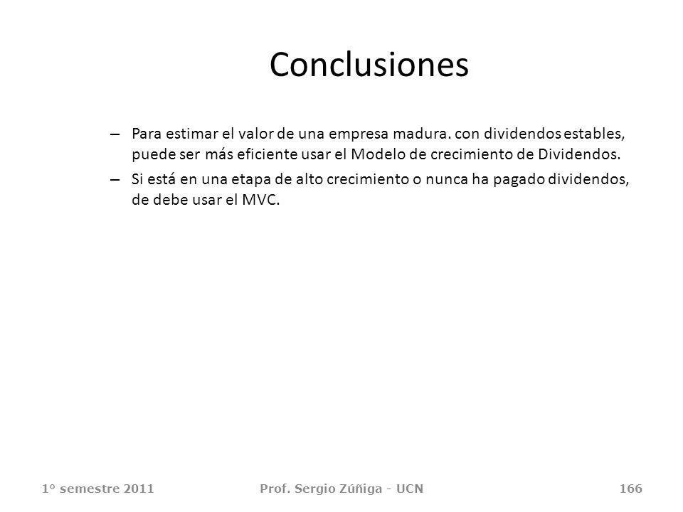 1° semestre 2011Prof. Sergio Zúñiga - UCN166 Conclusiones – Para estimar el valor de una empresa madura. con dividendos estables, puede ser más eficie