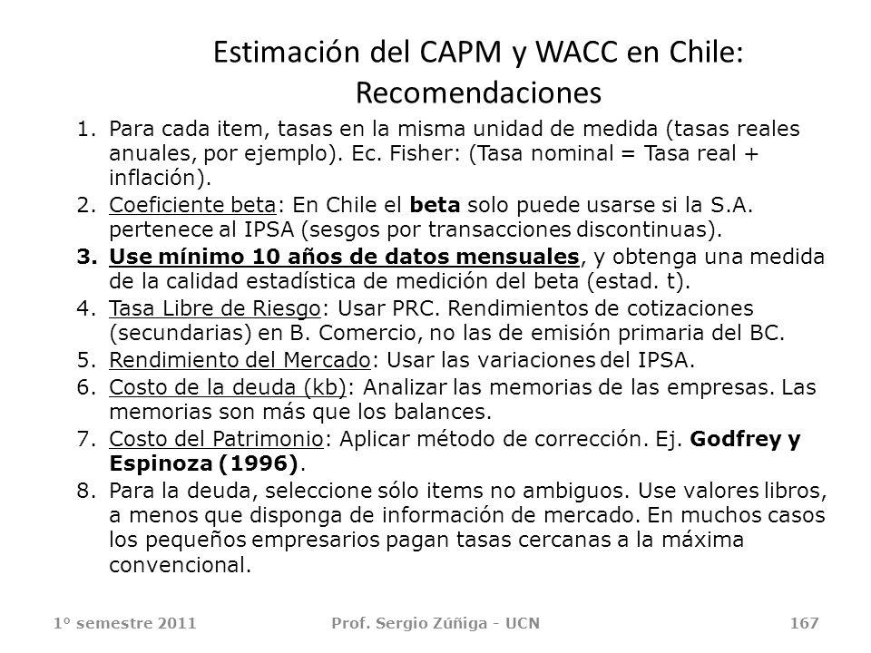 Estimación del CAPM y WACC en Chile: Recomendaciones 1° semestre 2011Prof. Sergio Zúñiga - UCN167 1.Para cada item, tasas en la misma unidad de medida