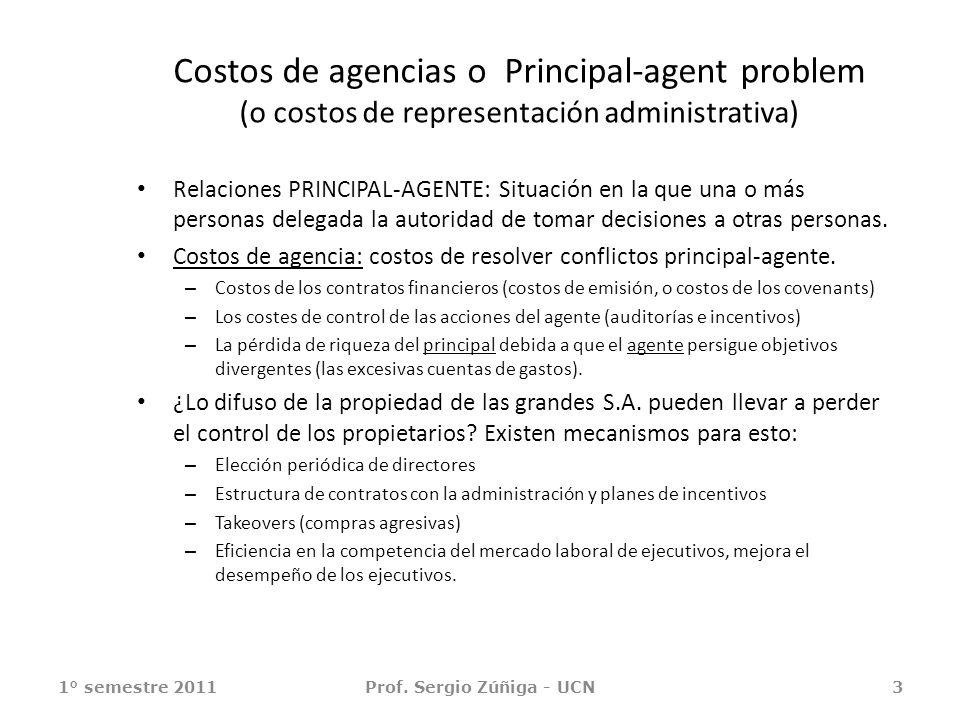 Costos de agencias o Principal-agent problem (o costos de representación administrativa) Relaciones PRINCIPAL-AGENTE: Situación en la que una o más pe