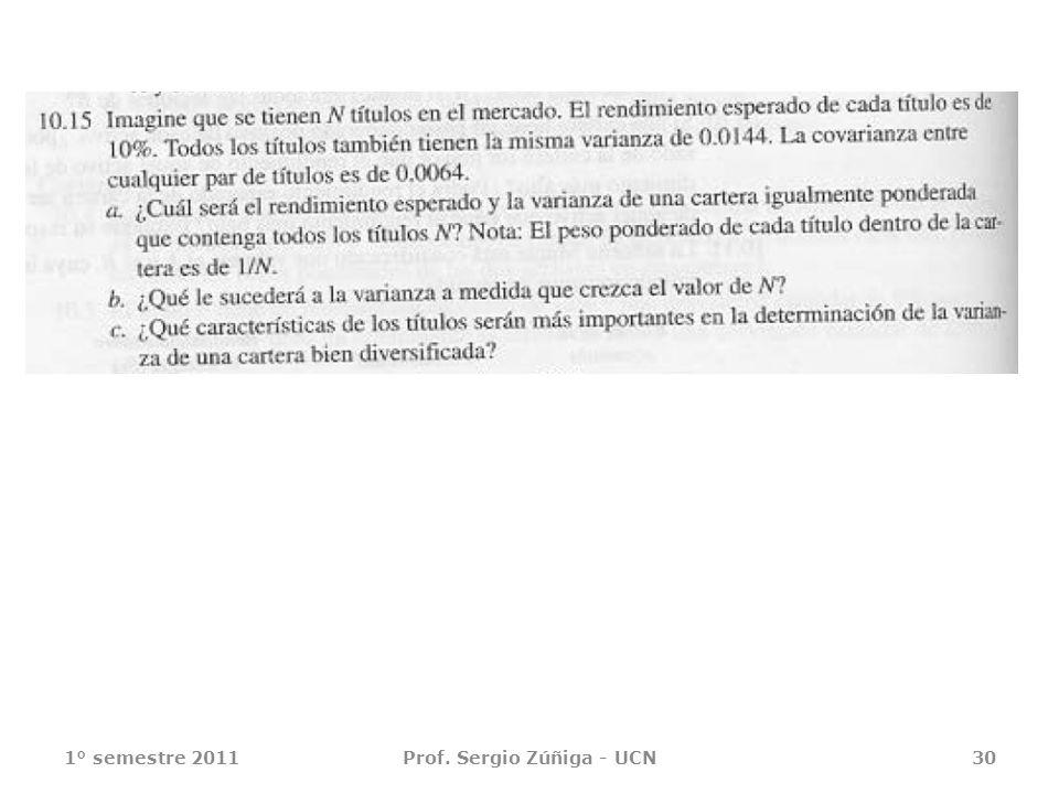 1° semestre 2011Prof. Sergio Zúñiga - UCN30