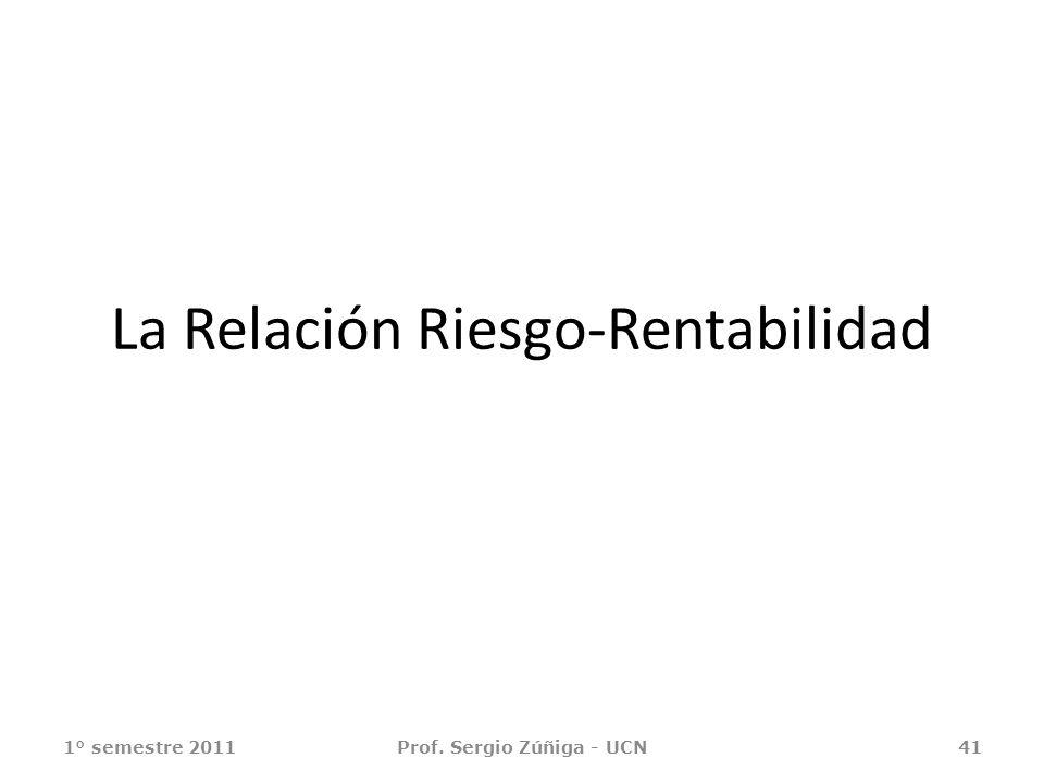 La Relación Riesgo-Rentabilidad 1° semestre 2011Prof. Sergio Zúñiga - UCN41