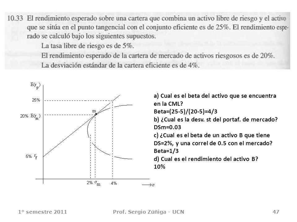 1° semestre 2011Prof. Sergio Zúñiga - UCN47 a) Cual es el beta del activo que se encuentra en la CML? Beta=(25-5)/(20-5)=4/3 b) ¿Cual es la desv. st d