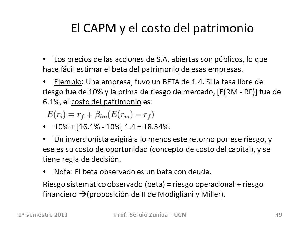 El CAPM y el costo del patrimonio Los precios de las acciones de S.A. abiertas son públicos, lo que hace fácil estimar el beta del patrimonio de esas