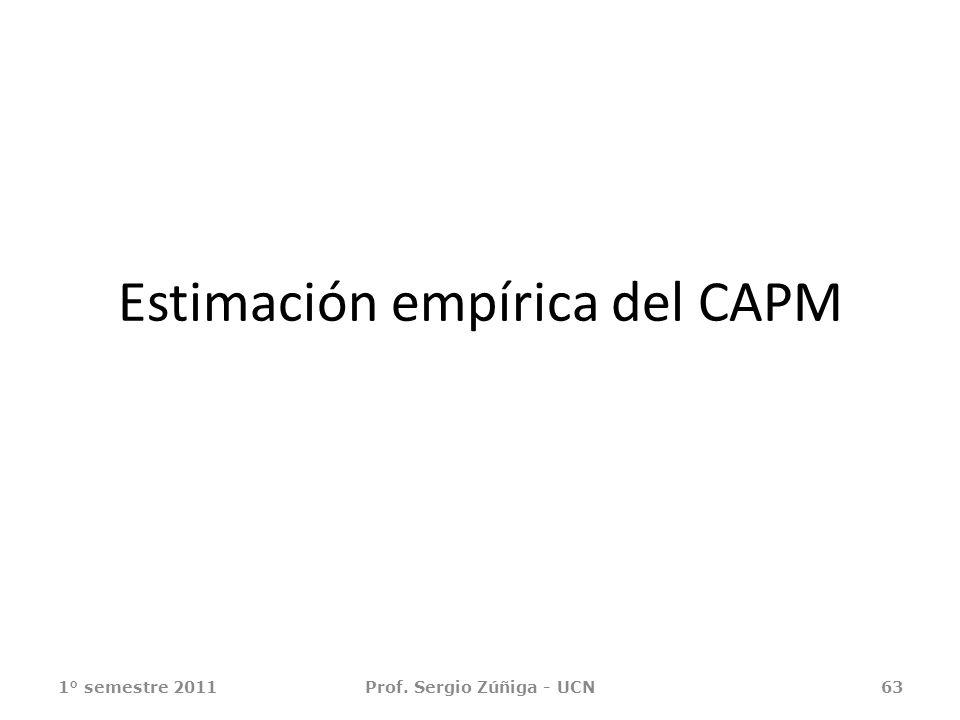 Estimación empírica del CAPM 1° semestre 2011Prof. Sergio Zúñiga - UCN63