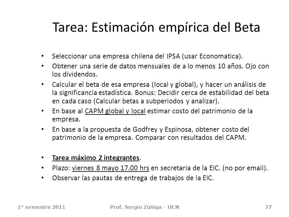 Tarea: Estimación empírica del Beta Seleccionar una empresa chilena del IPSA (usar Economatica). Obtener una serie de datos mensuales de a lo menos 10