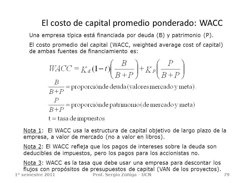 El costo de capital promedio ponderado: WACC 1° semestre 2011Prof. Sergio Zúñiga - UCN79 Nota 1: El WACC usa la estructura de capital objetivo de larg