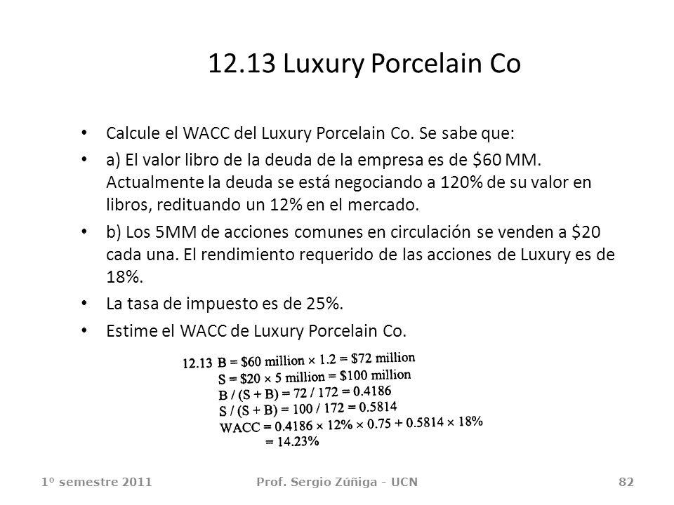 12.13 Luxury Porcelain Co Calcule el WACC del Luxury Porcelain Co. Se sabe que: a) El valor libro de la deuda de la empresa es de $60 MM. Actualmente