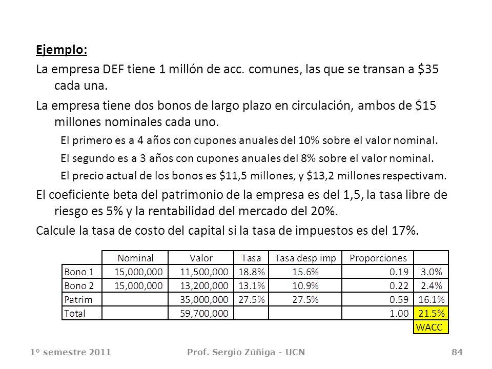 Ejemplo: La empresa DEF tiene 1 millón de acc. comunes, las que se transan a $35 cada una. La empresa tiene dos bonos de largo plazo en circulación, a