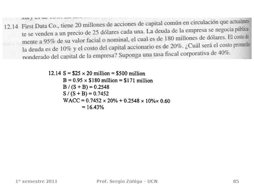 1° semestre 2011Prof. Sergio Zúñiga - UCN85
